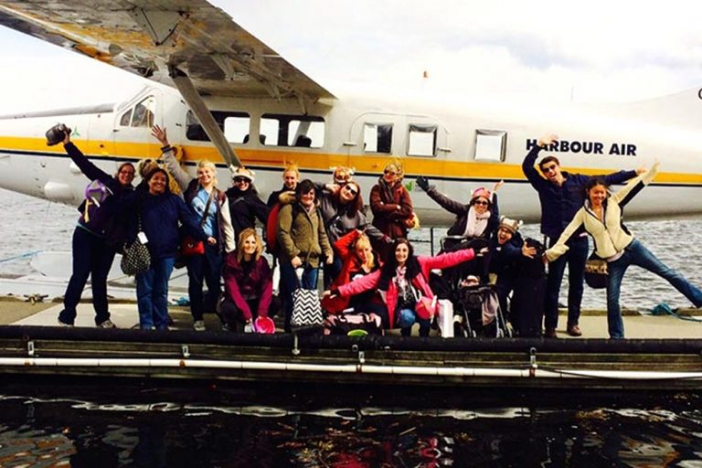 GISH winners boarding a seaplane in Vancouver.